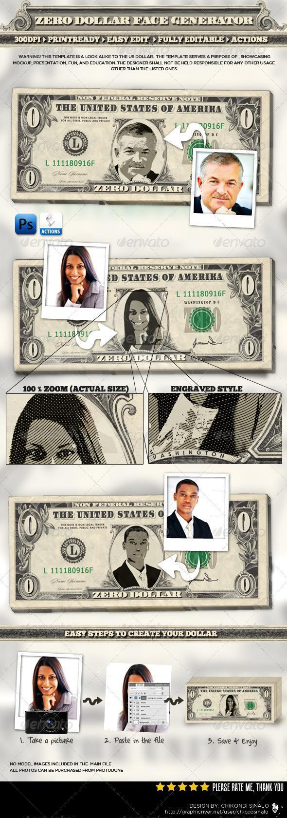 Put Face on Dollar Bill Photoshop Template