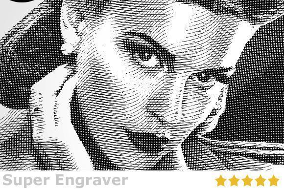 Super Engraver Photoshop Illustration Old Look Style