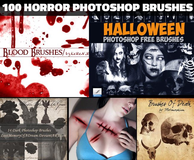 100 Blood skull wound scars and other horror photoshop brushes