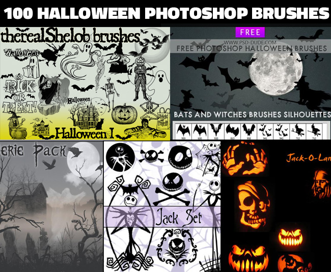 100 Witches pumpkins and other creepy halloween photoshop brushes