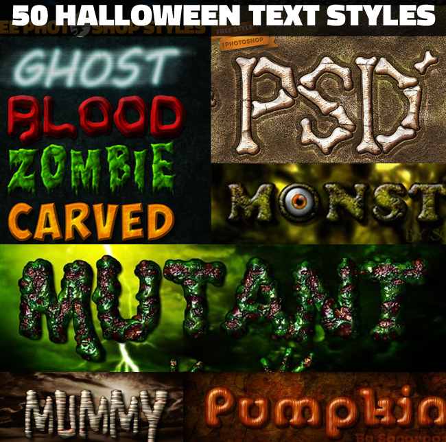 50 Halloween photoshop styles for text effects