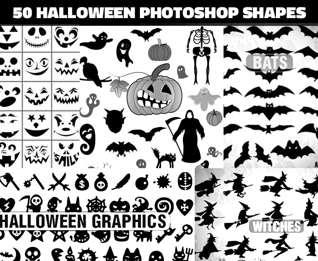 50 Halloween vector custom shapes for Photoshop