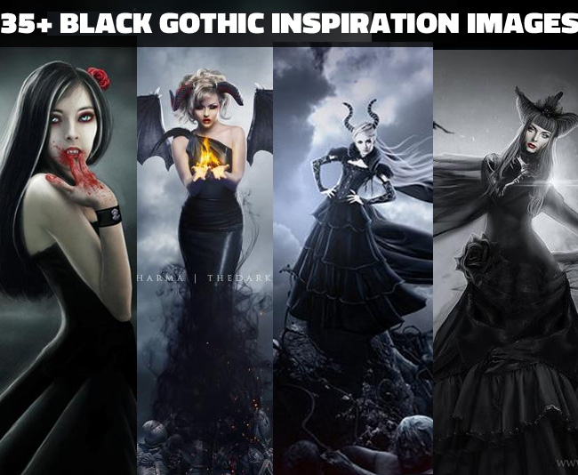 Black dress gothic photoshop manipulations collection