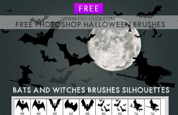 Halloween Bats and witches photoshop brushes