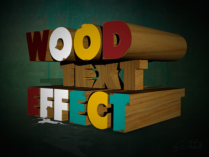 3D Wood Text in Photoshop made by svladi (http://www.photoshop-master ...