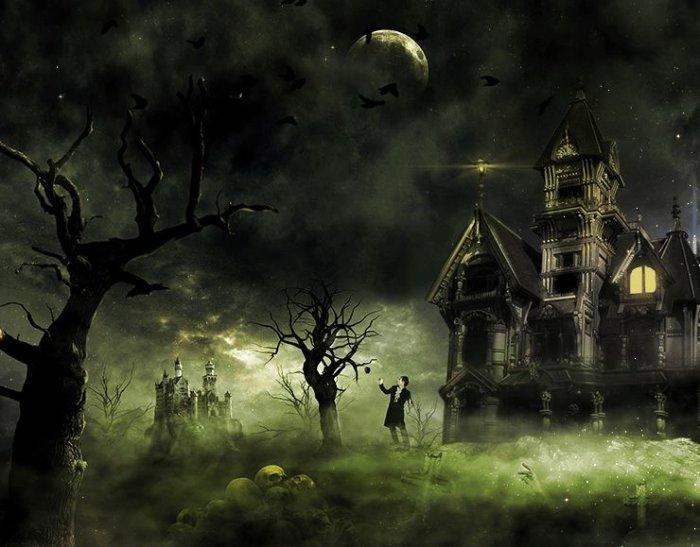 Dark horror photoshop tutorials psddude for Haunted house scene ideas