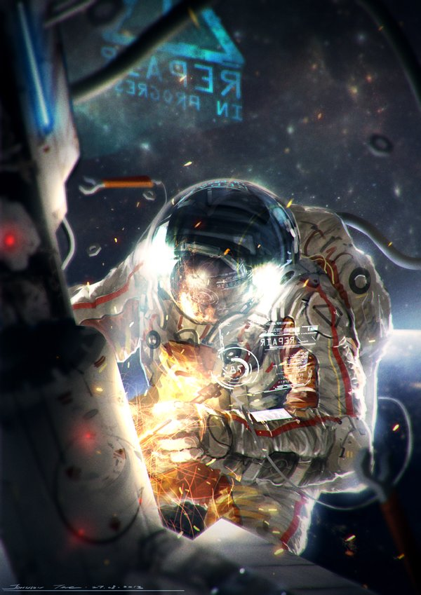 Sci fi astronaut drawing pics about space for Space art tutorial
