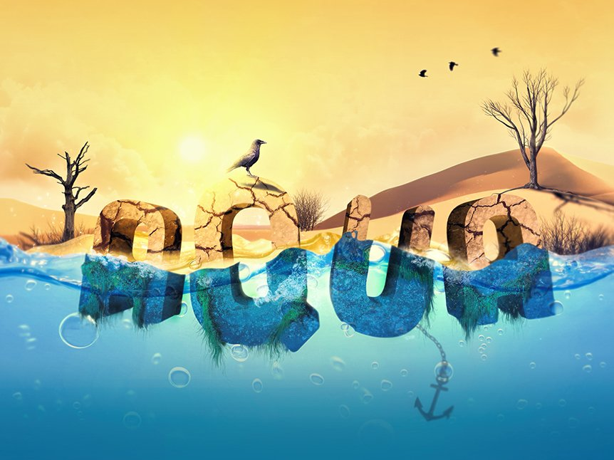 Over 15 Photoshop Water Text Tutorials