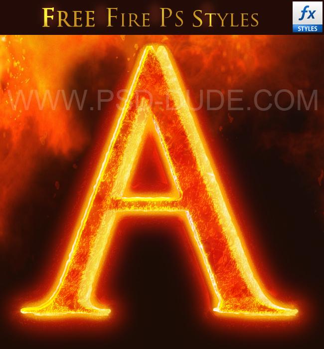 Fire font photoshop psd