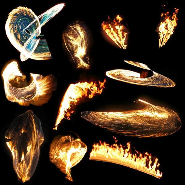 Transparent Abstract Fire Flames Pack 3