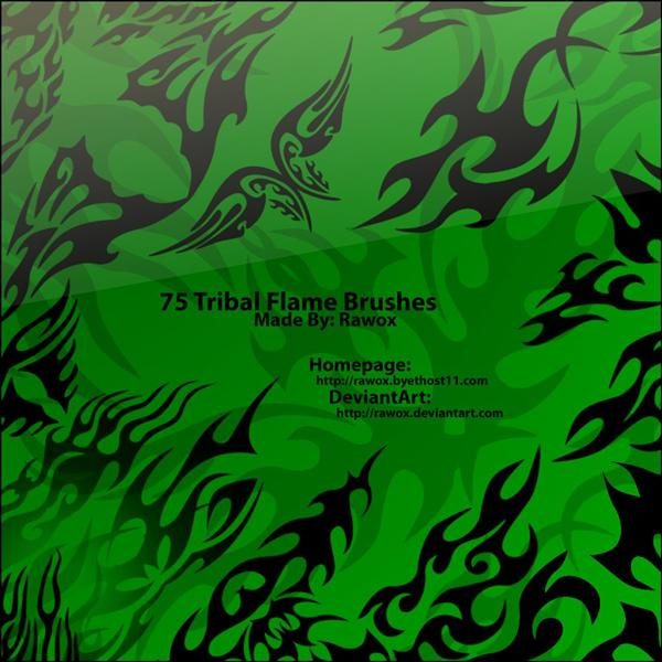 75 Tribal Flame Brushes by Rawox photoshop resource collected by psd-dude.com from deviantart