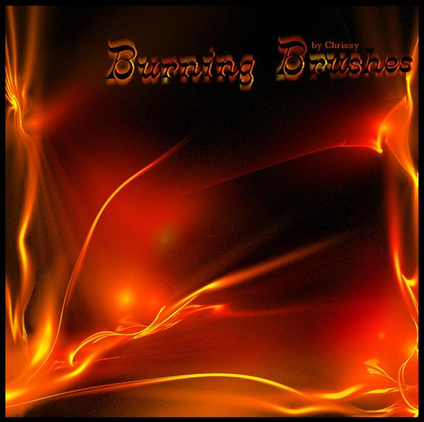 Burning Brushes by Chrissy79 photoshop resource collected by psd-dude.com from deviantart