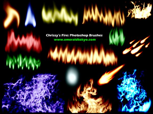 Chrissys Fire PS Brushes by EmeraldTokyo photoshop resource collected by psd-dude.com from deviantart
