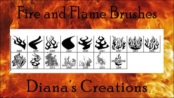 Fire and Flame Brushes by DianasCreations photoshop resource collected by psd-dude.com from deviantart