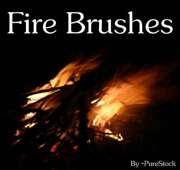 Fire Brushes by PureStock photoshop resource collected by psd-dude.com from deviantart