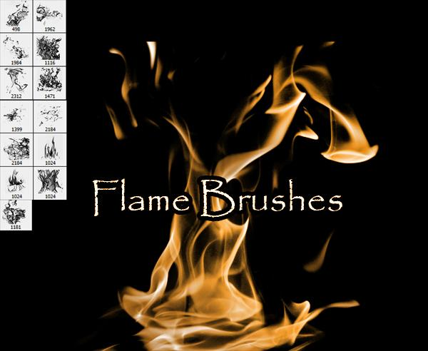 Flame Brushes by SugarBreezy photoshop resource collected by psd-dude.com from deviantart