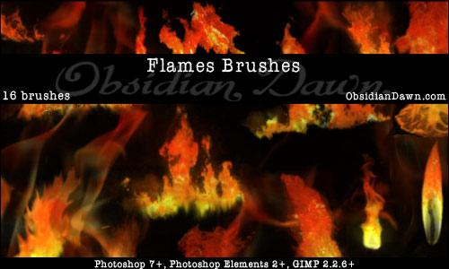 Flames Fire Photoshop Brushes by redheadstock photoshop resource collected by psd-dude.com from deviantart