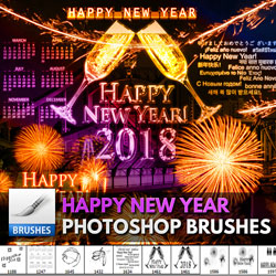 Happy New Year Photoshop Brushes psd-dude.com Resources