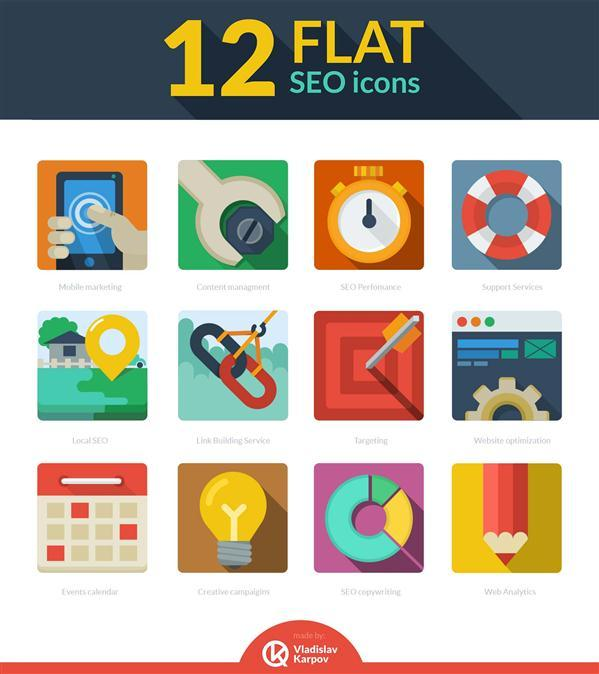 12 flat seo icons free download
