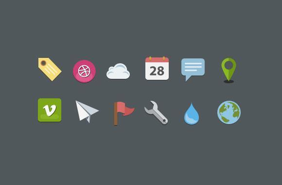 Flat Icon Set with Free PSD