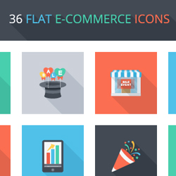 Free E-Commerce Icons PSD with Flat Design psd-dude.com Resources