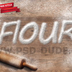 Baking Flour Photoshop Free Text Style psd-dude.com Resources
