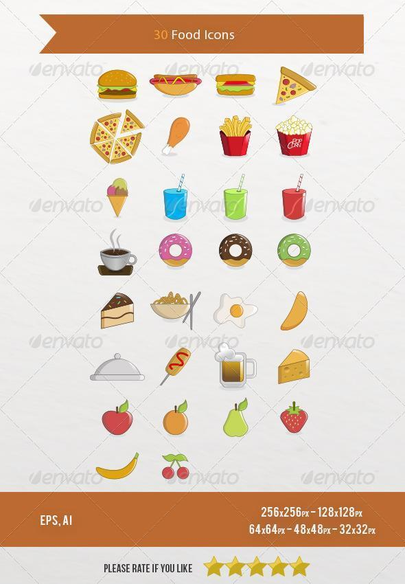 30 Food Icons Pack EPS AI