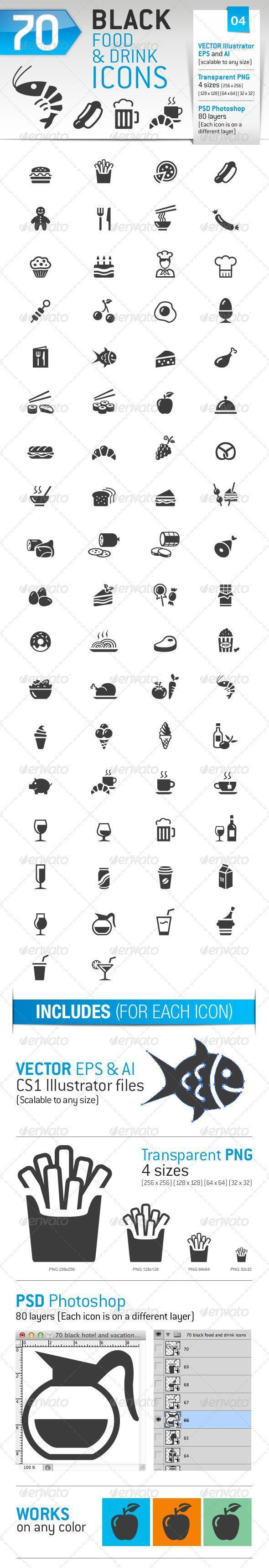 70 Food and Drink Icon Shapes