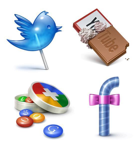 Candy Social Networking Icons