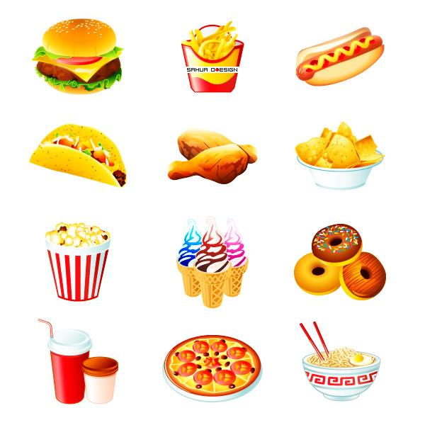 Fast food icons by sahua photoshop resource collected by psd-dude.com from deviantart