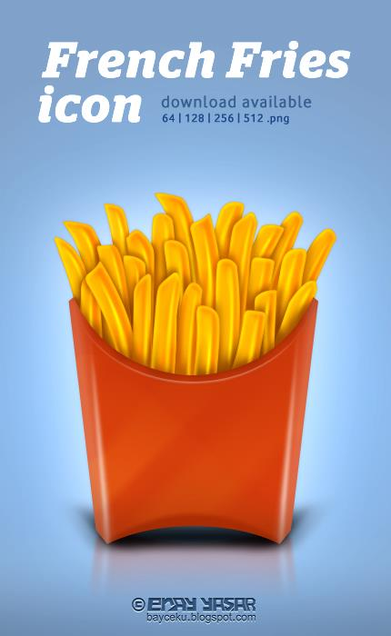 French Fries Icon by ceku photoshop resource collected by psd-dude.com from deviantart
