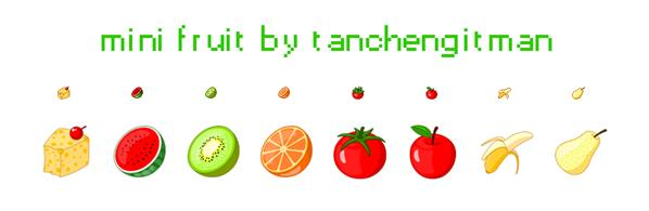 mini fruit pixel icons by tanchengitman photoshop resource collected by psd-dude.com from deviantart