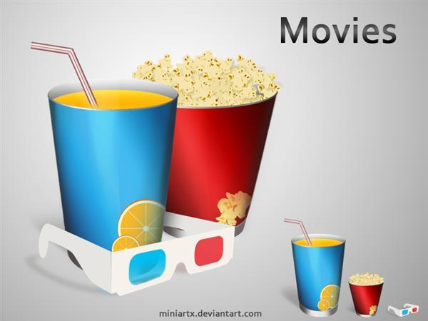 Movies Soda and Popcorn Icons