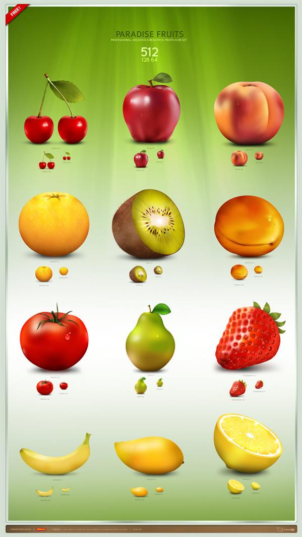 Paradise Fruit Icon Set by artbees photoshop resource collected by psd-dude.com from deviantart