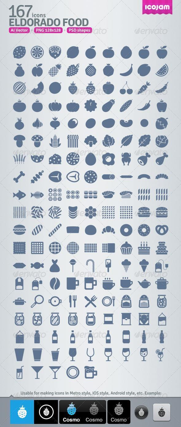 Restaurant Food and Drinks Icons AI and PSD