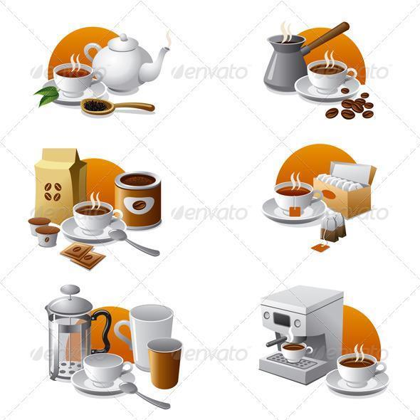 Tea and Coffee Icon Set