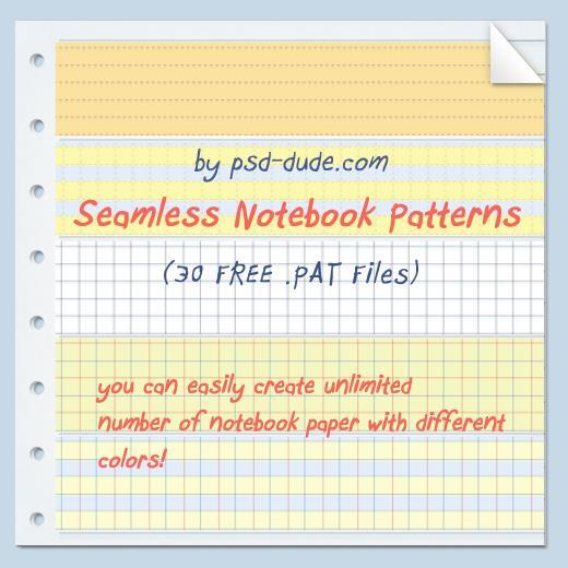 30 Free Notebook photoshop patterns for School Projects
