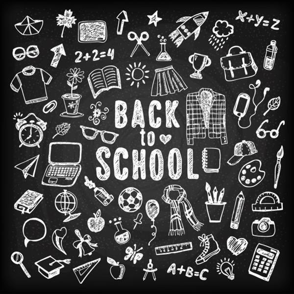 Back to School Background Blackboard with Sketches