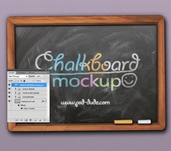 Chalkboard mockup with free PSD