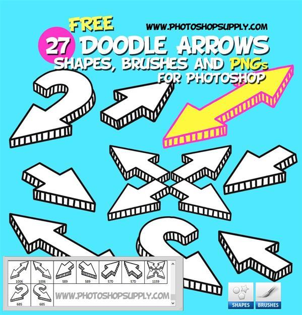 Doodle Arrow Shapes and Brushes for Photoshop