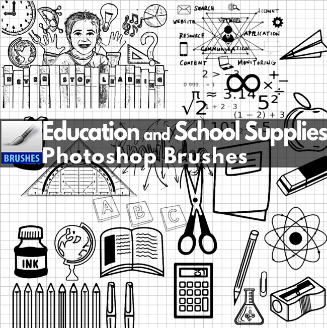 School Supplies and Education Photoshop Brushes