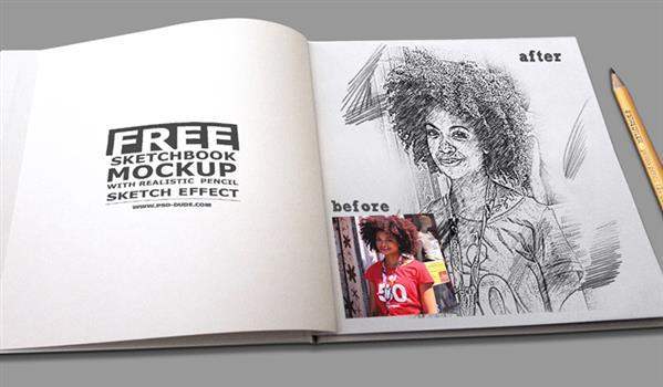 Sketchbook mockup PSD with pencil sketch Effect