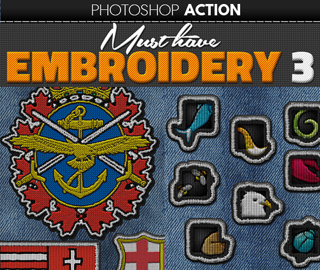 embroidery effect logo photoshop action