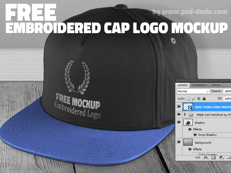 1dd9c03b431a1 Free Cap Mockup PSD with Realistic Embroidered Logo