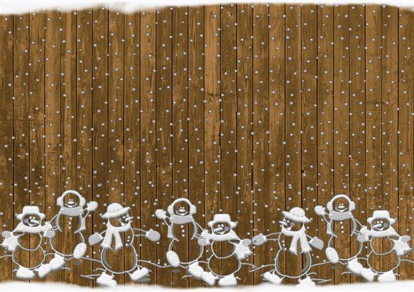 Background with Christmas Snowmen Rustic Snow