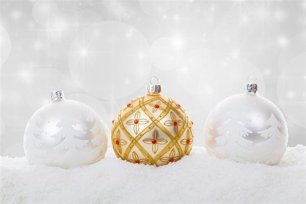 Christmas Background Ball Baubles Celebration in Snow