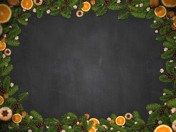 Free Christmas Border With Fir Orange and Cookies