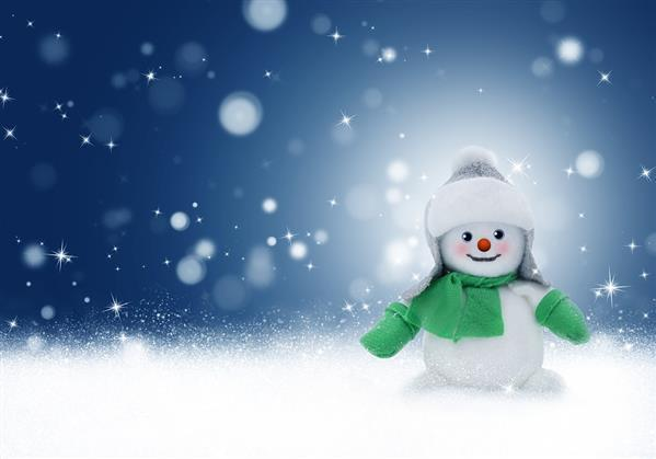 Snowman Background with Snow Winter Christmas