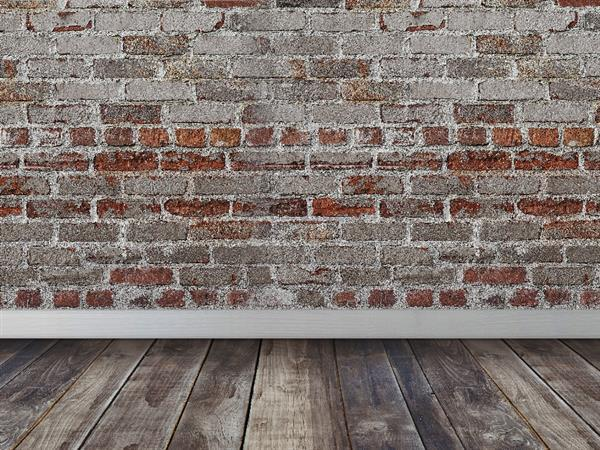 Bricks wall with wood floor room interior Stock Image