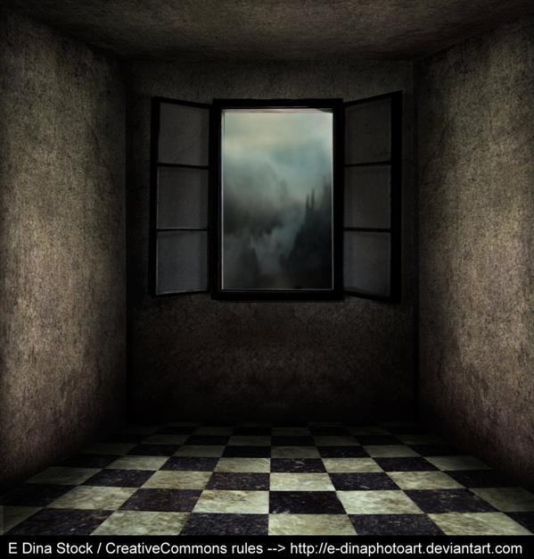 Premade Creepy Background Room With Window